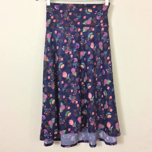 LuLaRoe Azure Navy Floral A-Line Skirt Size L